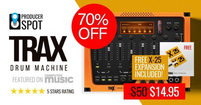 producerspot offers 70 off trax drum machine plugin on sale for. Black Bedroom Furniture Sets. Home Design Ideas