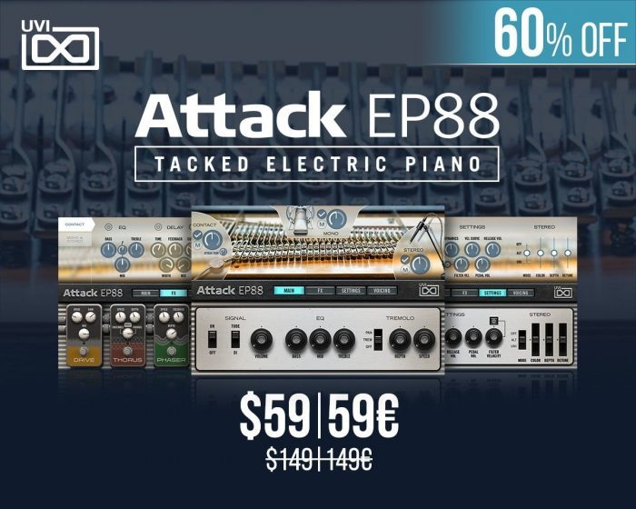 UVI's Attack EP88 tacked electric piano is on sale for $59 USD!