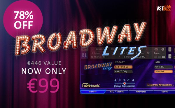 Get 78% off Broadway Lites instrument library by Fable
