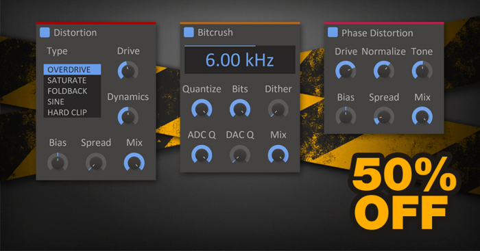 Kilohearts Bitcrusher, Distortion and Phase Distortion 50 OFF