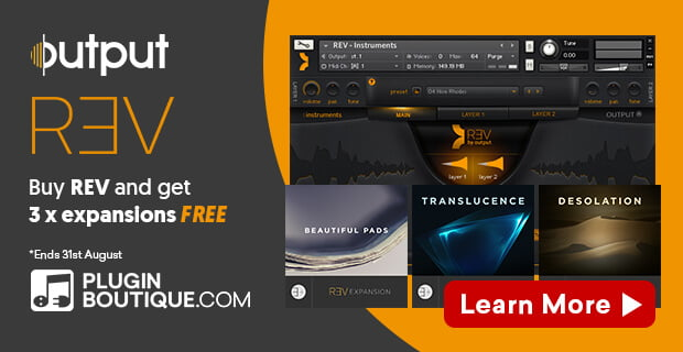Get 3 Expansion packs FREE with Output's REV Kontakt Player instrument