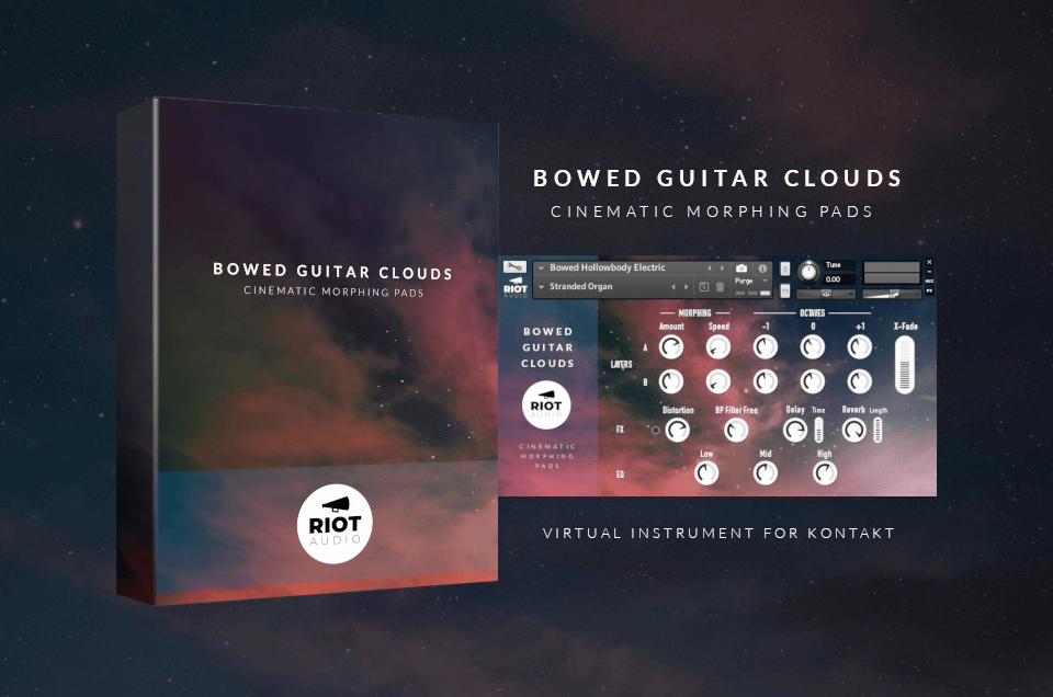 Bowed Guitar Clouds cinematic morphing pad library for NI