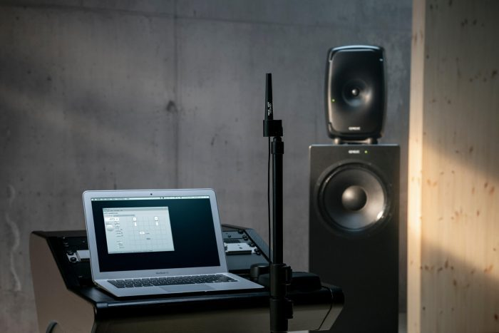 Genelec 8361A coaxial three way monitor and W371A Adaptive Woofer System laptop
