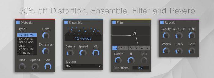 Kilohearts Distortion, Ensemble, Filter and Reverb