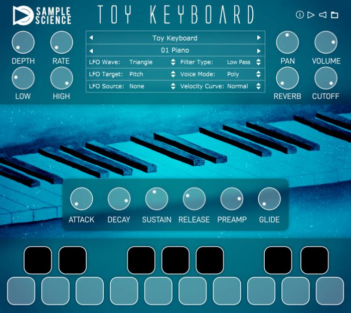 SampleScience Toy Keyboard v2 screen